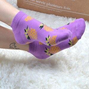 Image 3 - SANZETTI 12 זוגות\חבילה נשים שמח מסורק כותנה אופנה המפלגה מקרית גרבי פירות דפוס מצחיק Harajuku באיכות גבוהה גרביים קצרים