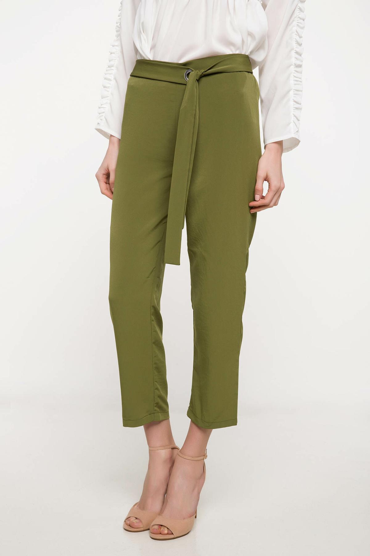 DeFacto Women Adjustable Long Pants Women Casual Solid Color Ninth Pants Female Fit Mid-waist Bottoms Trousers-J1119AZ18SP