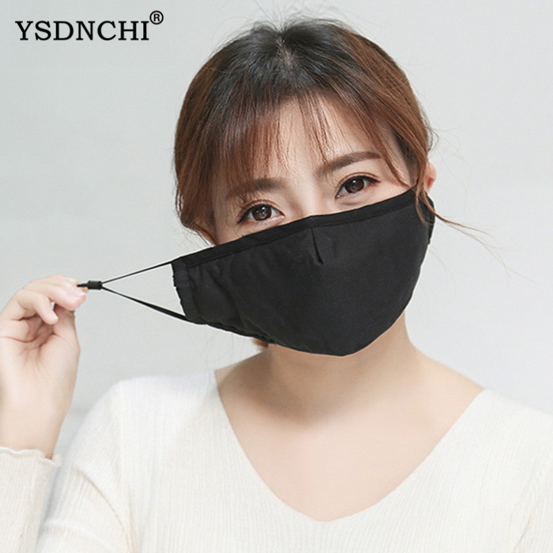 YSDNCHI Face Masks 2020 New Men Women Anti-bacterial Dust Masks Filter Fashion Unisex Solid Black White Breathable Mouth Masks