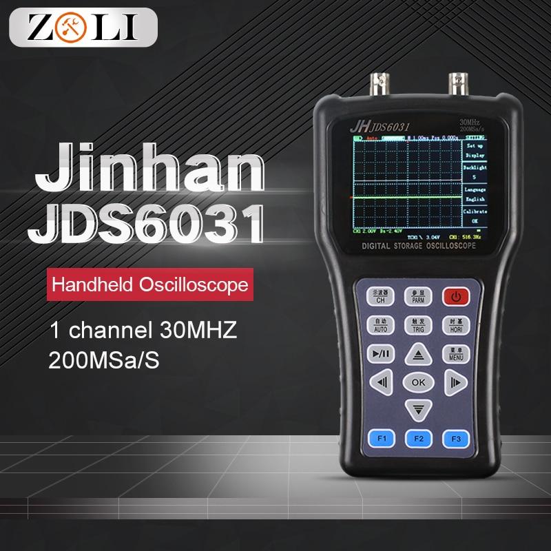 Novo osciloscópio de mão osciloscópio digital 1 canal 30 mhz 200msa/s com cabo portátil da ponta de prova do carregador de usb jinhan jds6031