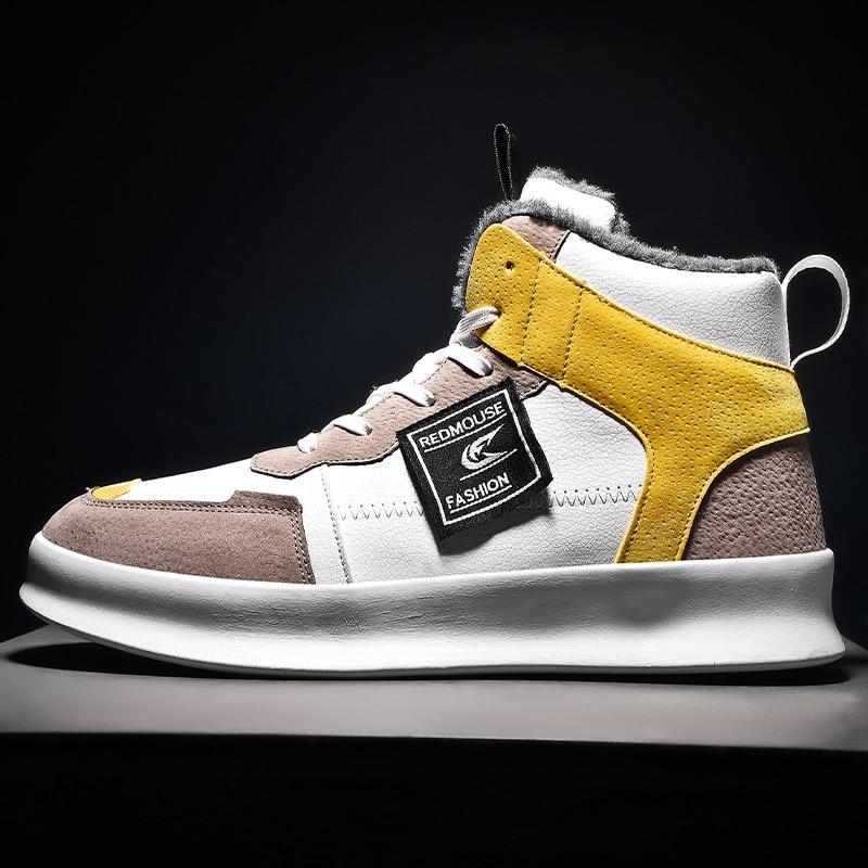 US $15.03 15% OFF|Fashion Men Winter Cotton Shoes Mens Shoes Casual Zapatos De Hombre Men High Top Sneakers Male Flat Shoes Outdoor Sport Shoes on