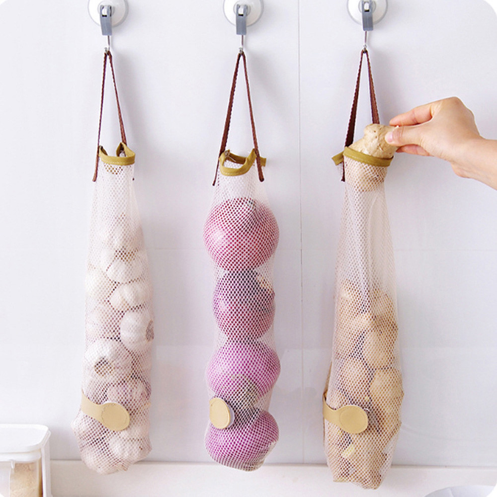 Kitchen Fruits Vegetables Storage Hanging Bag Reusable Grocery Produce Bags Mesh Ecology Shopping Tote Bag Onion Organization