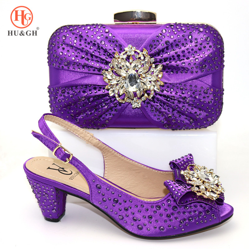 African Pu Leather Ladies Matching Shoe And Bag Nigerian Shoes And Bags Set For Party Women Shoe And Bag To Match In Purple