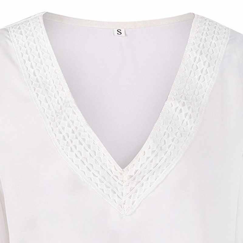 Женская Сексуальная рубашка с v-образным вырезом и длинными рукавами, Женская богемная Повседневная белая блузка большого размера 2019, Осенний женский топ