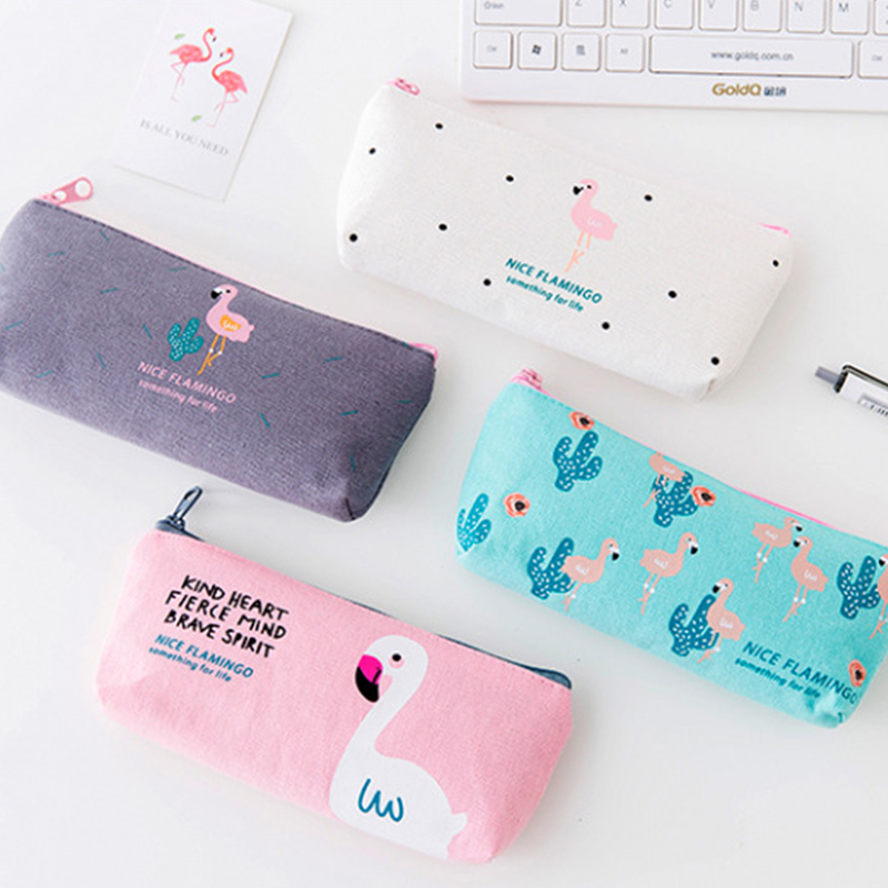 Simple Fashion Flamingo Cactus Zipper Ins  Oxford Pencil Case Gift Pencil Box Pencilcase Pencil Bag School Supplies Stationery