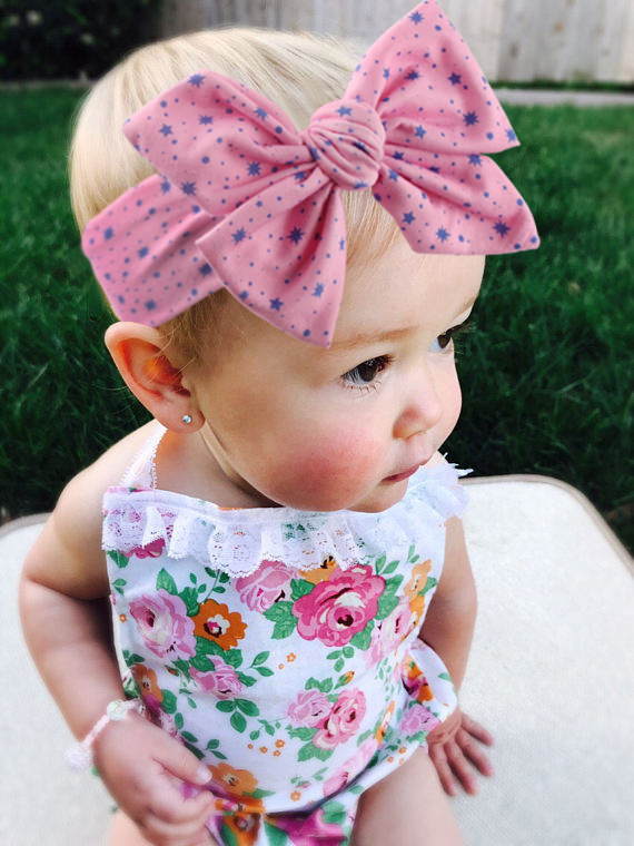 Baby Girls Star Printed Bow Knot Headband Newborn Cotton Soft Headwrap Children Twist Turban Kids Wide Headbands Bebe Hairband