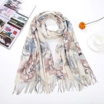 CZHCQQ  Women Pashmina Scarf Flower Blanket Luxury Plaid Cashmere Silk Holiday Winter Poncho Brand