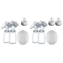 Electric Double Breast Pump Kit with 2 Baby Milk Bottles Baby Nipple Suction 40JC