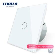 Livolo/Стандартный, дверной Звонок переключатель, с украшением в виде кристаллов Стекло переключатель Панель, 220~ 250V Сенсорный экран дверной Звонок переключатель, C701B-1/2/3/5, без логотипа