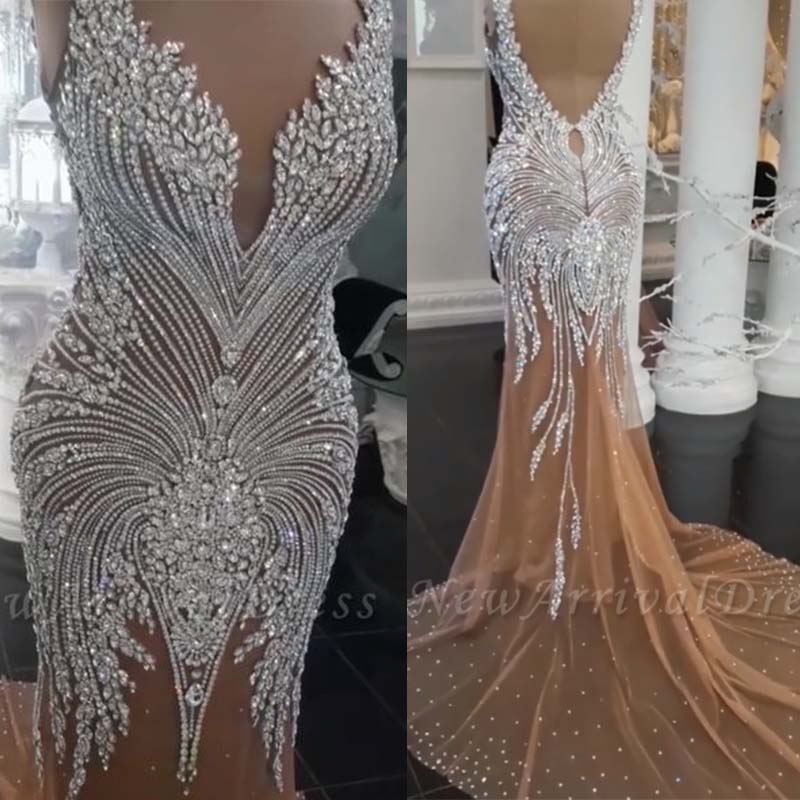 Vestidos De Novia Glamorous Crystals Beaded Mermaid Wedding Dress 2019 Sexy V-Neck Backless Champagne Bridal Wedding Gowns