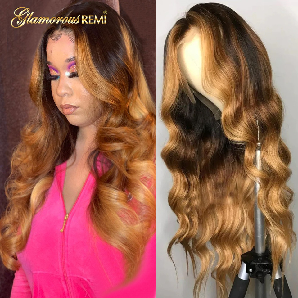 Brazilian Lace Front Wig Wavy Ombre Blonde Highlight Color Remy Hair 13x6 Human Hair Wigs 150% Density Middle Part Pre Plucked