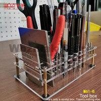 Diy ferramenta de manutenção caixa de recepção parafuso driver pinças aço malha faca pequena ferramenta prateleira|Conjuntos ferramenta manual| |  -
