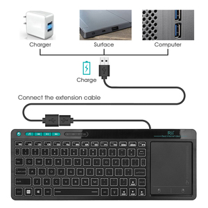 Image 5 - Rii K18 Plus Wireless Multimedia English Russian Spanish Hebrew Keyboard 3 LED Color Backlit with Multi Touch for TV Box,PC