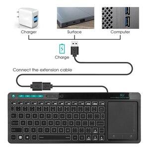 Image 5 - Беспроводная мультимедийная клавиатура Rii K18 Plus на английском, русском, испанском, иврите, с 3 цветной подсветкой и мультисенсорным сенсорным экраном для ТВ бокса, ПК
