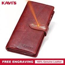 KAVIS gravure gratuite en cuir véritable femmes portefeuille porte monnaie femme Portomonee dame longue pratique porte carte pochette cadeau pour le nom