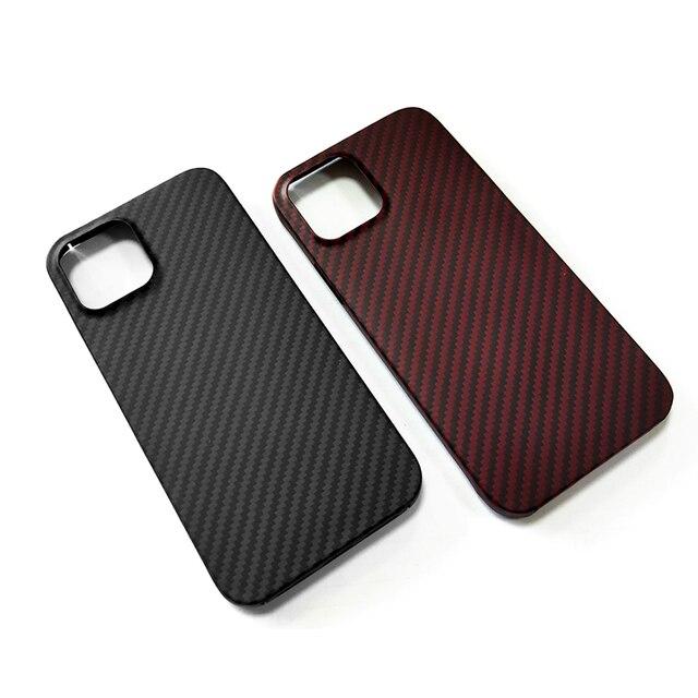 Real Pure Carbon Fiber Phone Case for Iphone 12mini 12 Promax Anti-Fall Hard Business Cover Aramid fiber case iphone12Case Shell 5