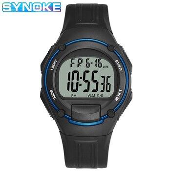 Synoke chronograph men relógios digital esporte 3bar resistente a choques repetidor acrílico volta luz moda simples homem relógio de pulso 1