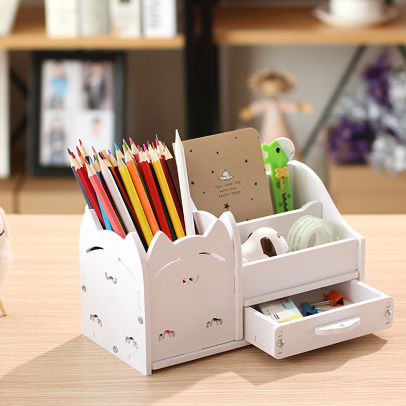 Multifunction School Desk Pen Pencils Drawer Case Storage Box Table Simple Pencil Shelf Holder Office Stationery Supplies