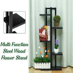 Baru 5 Lapisan Bunga Berdiri Modern Berdiri Pot Bunga Rak Kayu Baja Pot Bunga Pemegang untuk Balkon Tanaman Rak untuk Ruang Tamu kamar
