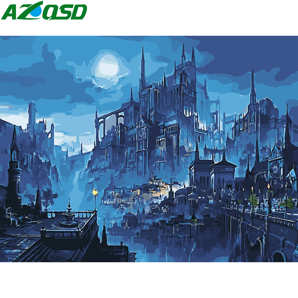 AZQSD Diy Painting By Numbers Night Scenery Paint Canvas Hand Painted Wall Art City Landscape Oil Pictures By Numbers Gift