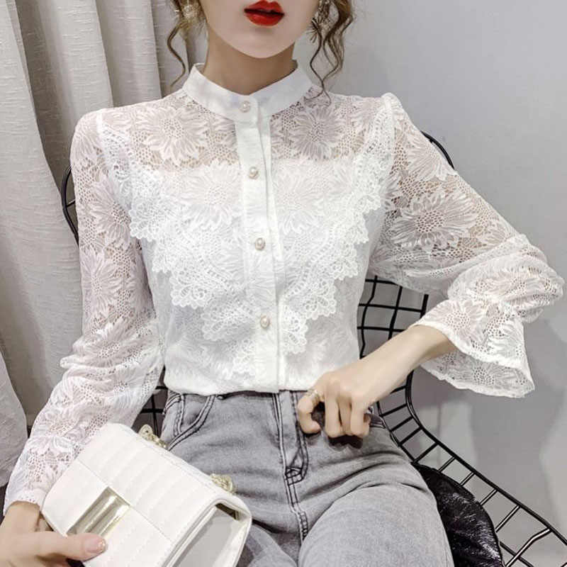 Elegant Floral Embroidery Petal Sleeve Lace Shirts Blouses Women New Sexy See-through Solid Color Fashion Office Shirt Tops