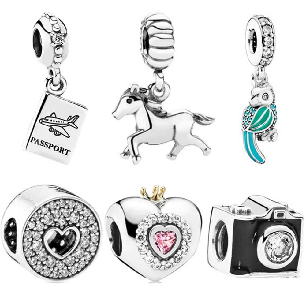 1pc koń Dird Camera samolot Mickey Minnie DIY koralik Fit oryginalny Pandora Charms srebrna kolorowa bransoletka ozdoba biżuteria