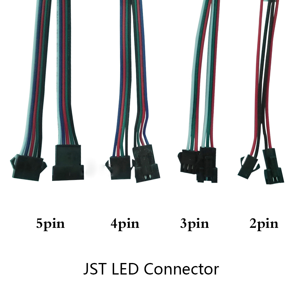 Hot Sell 5-100pairs 2 3 4 5 Pin  2 X 15cm JST Connector Male/female Connector For Lamp Driver CCTV Led Strip Light