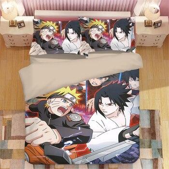 Edredon Anime.Naruto Anime 3d Juego De Cama Uzumaki Naruto Uchiha Sasuke Quiltcover Fundas De Almohada Edredon Ju