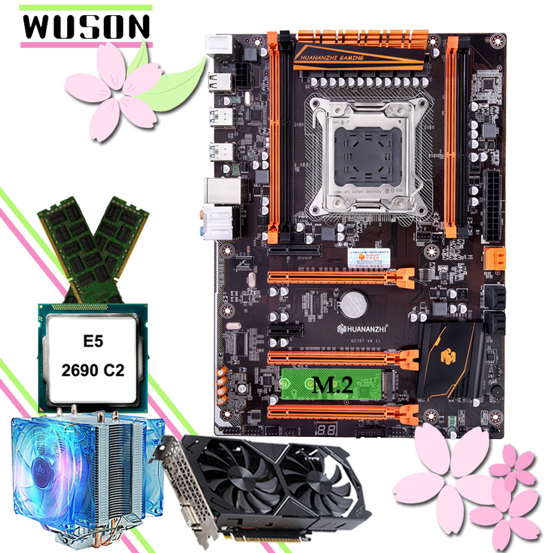 HUANANZHI Deluxe X79 Motherboard With M.2 NVMe Slot CPU Xeon E5 2690 C2 With Cooler RAM 16G(2*8G) RECC GTX1050Ti 4G Video Card