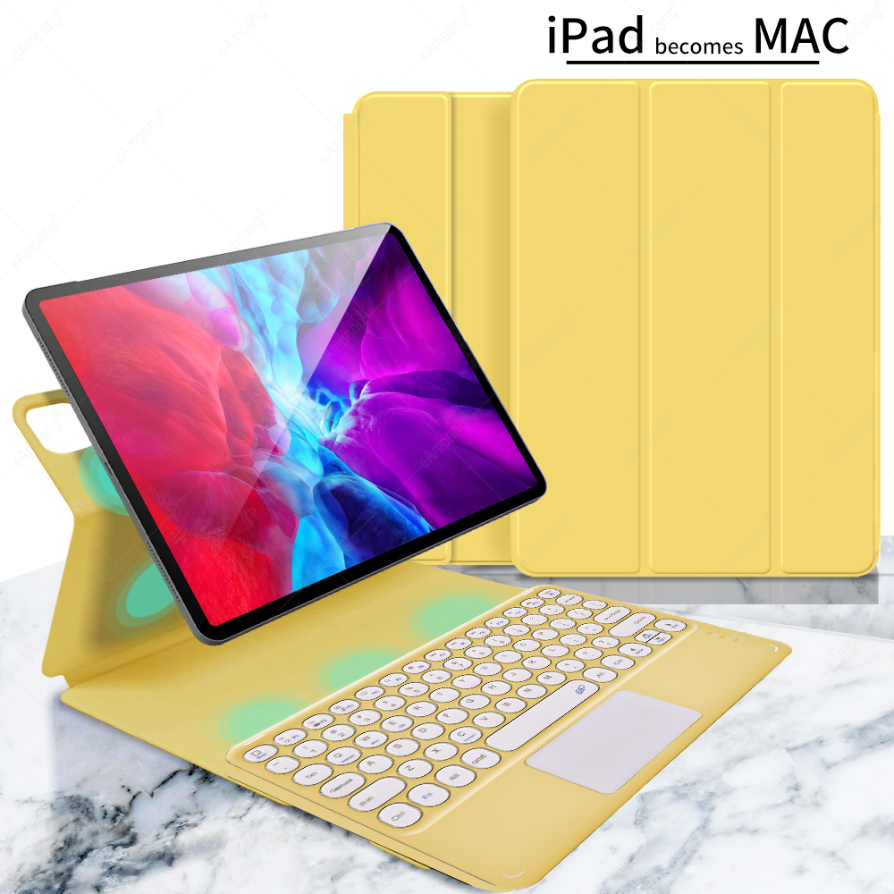 yellow with yellow Blue For iPad Pro 11 2021 2020 2018 A2301 A2459 A2460 Magnetic Case Keyboard Spanish Russian Korean