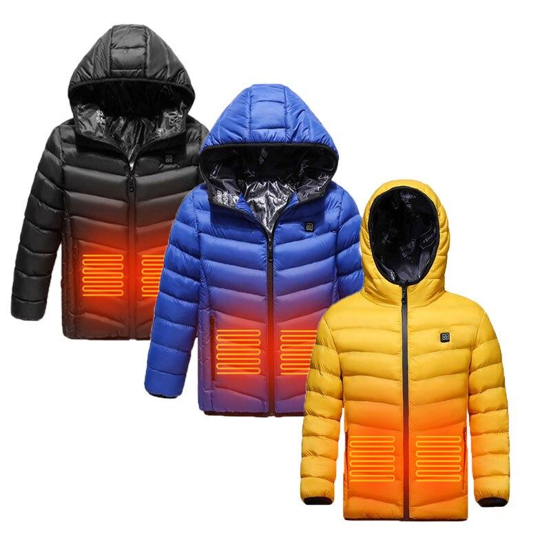 Детская куртка с usb-зарядкой, зимний жилет с подогревом, теплая детская одежда с подогревом, моющаяся мягкая куртка из полиэстера, безопасны...