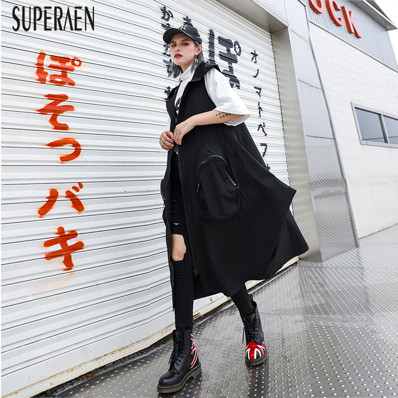 SuperAen Sleeveless   Trench   Coat Female Autumn New 2019 Fashion   Trench   Coat for Women Loose Pluz Size Hooded Women Clothing