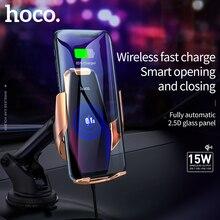 Aperto automático carro carregador sem fio 15 w carga rápida para iphone 11 pro xr xs huawei p30 pro qi sensor infravermelho suporte do telefone