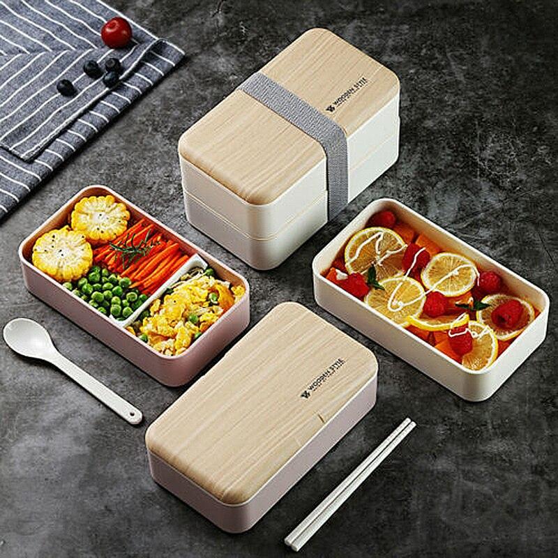 Креативный двухслойный Ланч-бокс для микроволновой печи, деревянный Ланч-бокс для салата без БФА, портативный контейнер, коробка для студен...