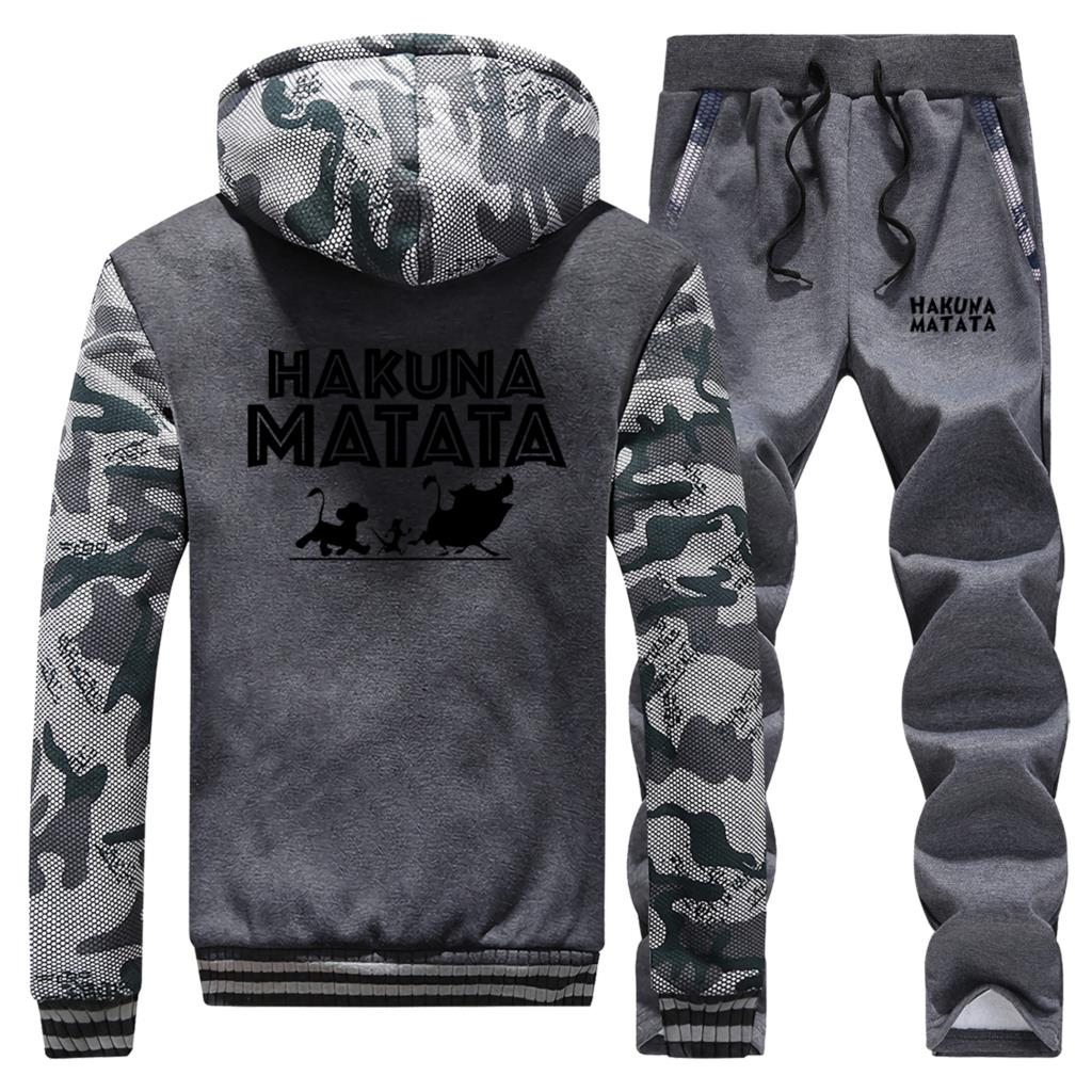 HAKUNA MATATA Tracksuit Winter Cartoon Jacket Men Sweatpants Male The Lion King Hoodies+Trousers 2 Piece Sets Mens Sweatshirt
