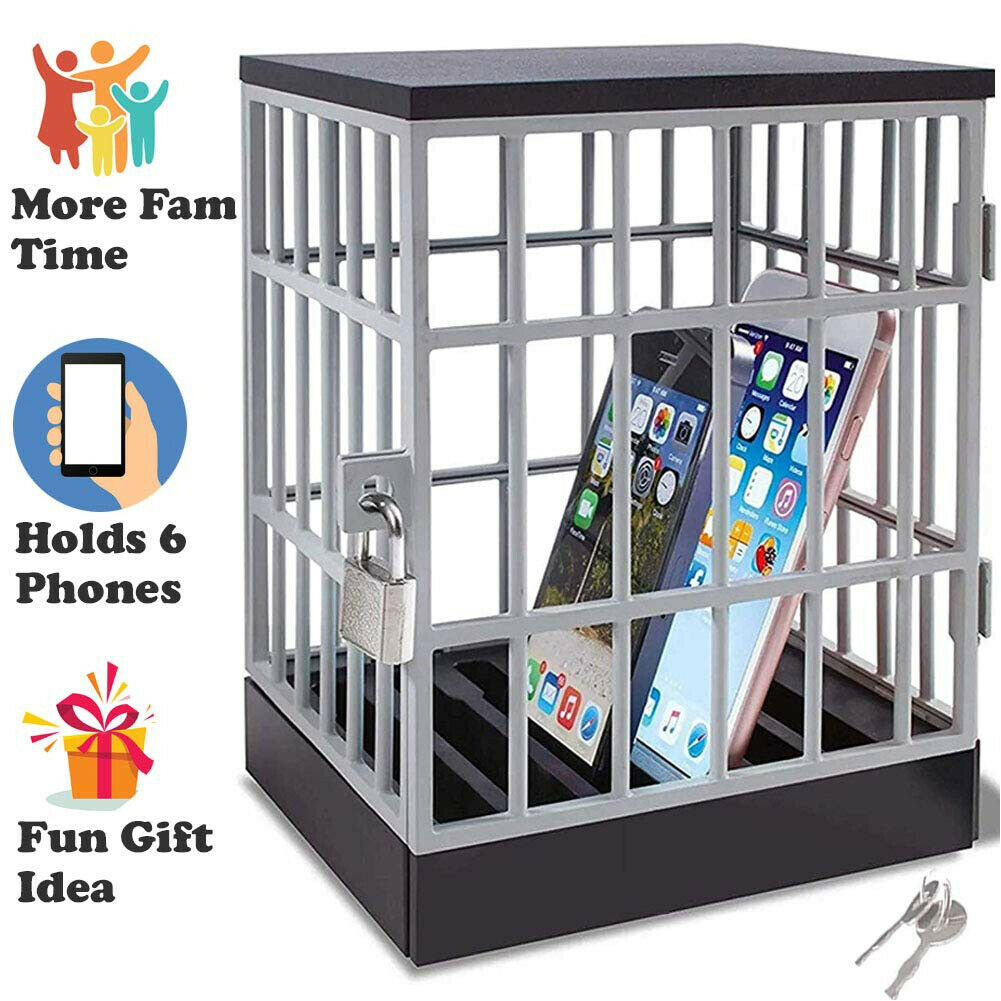 Cell Prison Lock Up Mobile Phone Jail Safe Smartphone Home Table Office Gadget quality Storage Box Locking Cage Party Storage