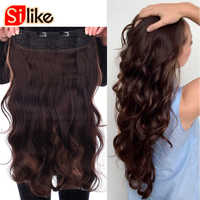 Silike 190g Wavy Clip in One Piece Hair Extensions 24 inch 17 Colors Available Synthetic Heat Resistant Fiber Hair Extension