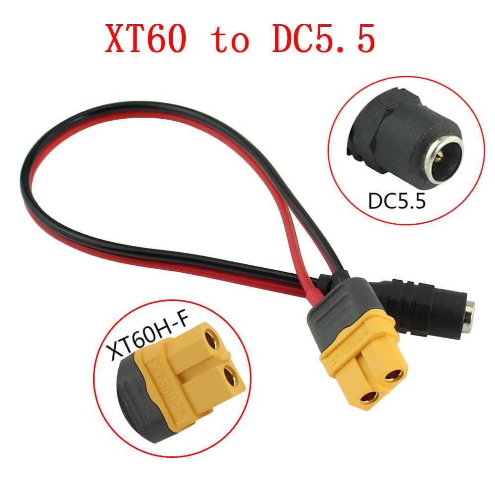 Acumular XT60 Plug Fêmea Para DC5.5 * 2.5 milímetros fonte de Alimentação Adaptador de Linha Cabo Adaptador Apropriado
