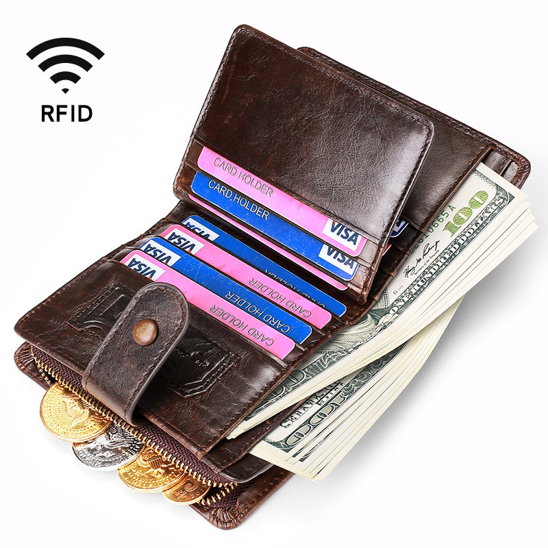Luxury Purse Genuine Leather Men's Wallet Rfid Zipper Coin Purse Vintage Design Hasp Money Bag Portomonee Bifold Wallets For Men