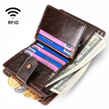 New Purse Genuine Leather men's Wallet Rfid Zipper Coin Purse Vintage Design Hasp Money Bag Portomonee Bifold Wallets For Men