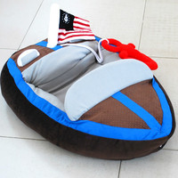 pet cool handsome yacht bed House High end Warm Yacht Teddy Nest Boat shaped Personalized Cat Litter Dog Bed Waterproof Dog Bed