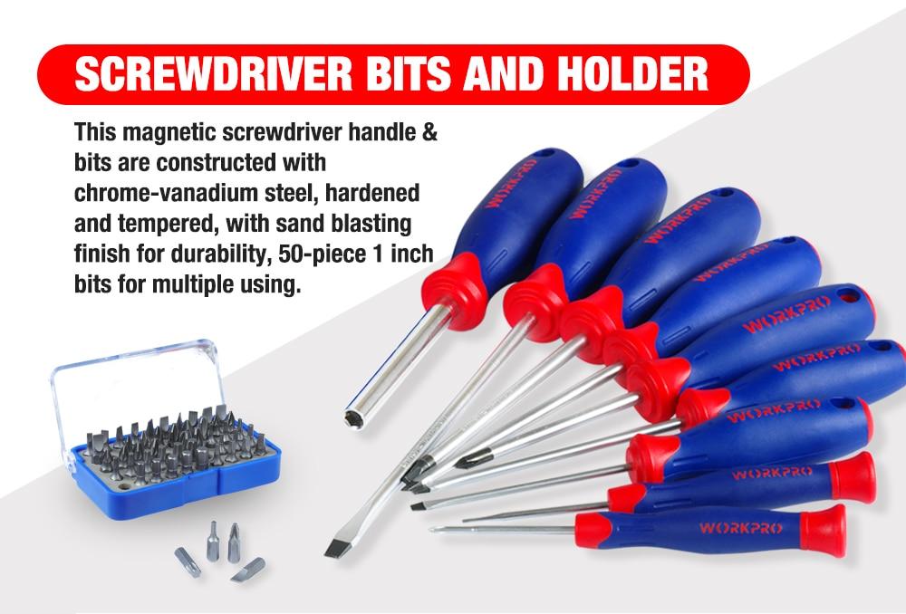 WORKPRO 119PC Aluminum Tool box Set Household Tool Set Hand