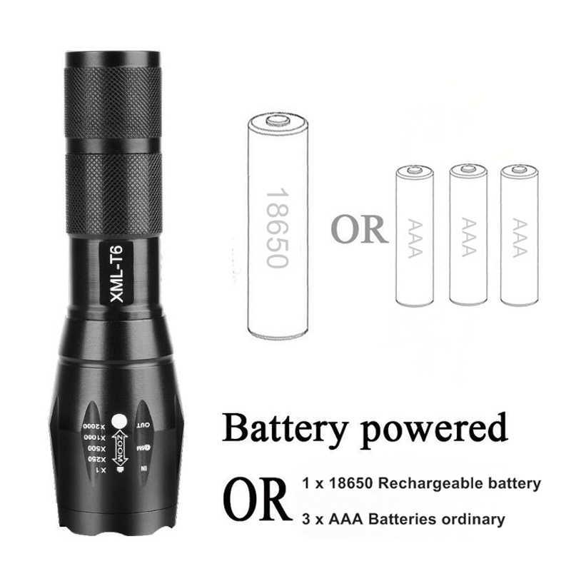 10000lm ส่วนใหญ่ที่มีประสิทธิภาพไฟฉาย LED 5 โหมด XM-L T6 L2 V6 Zoomable โฟกัสไฟฉายกันน้ำ 1*18650