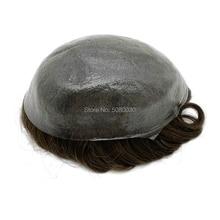最薄スキン男性かつら v ループノット髪の交換検出不可能フロントヘアライン高速配送