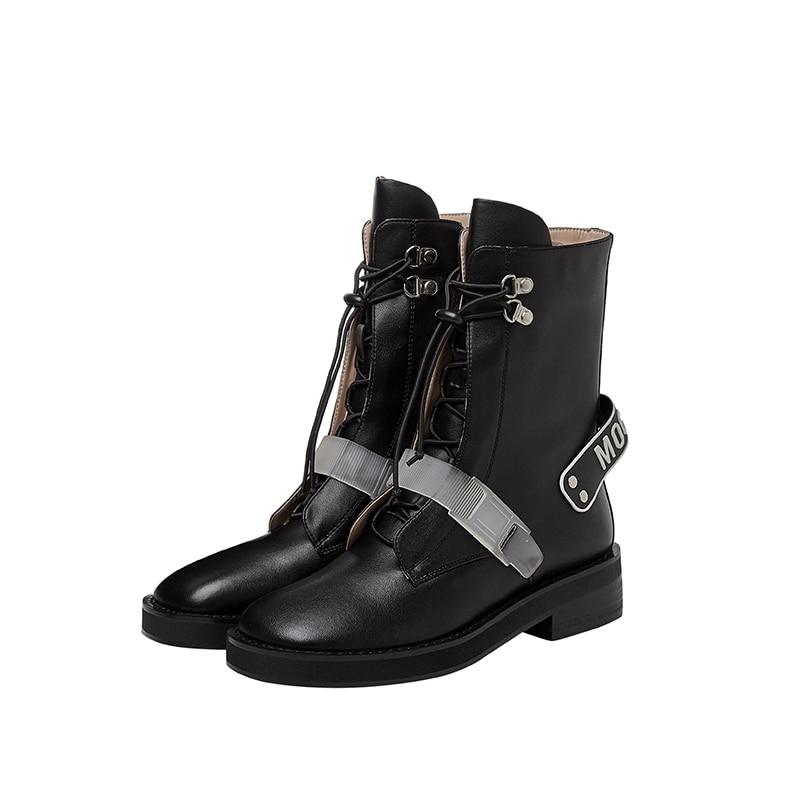 Prova perfetto novo inverno couro genuíno rendas-up botas da motocicleta fivela cinta botas femininas plataforma novlty saltos baixos botas
