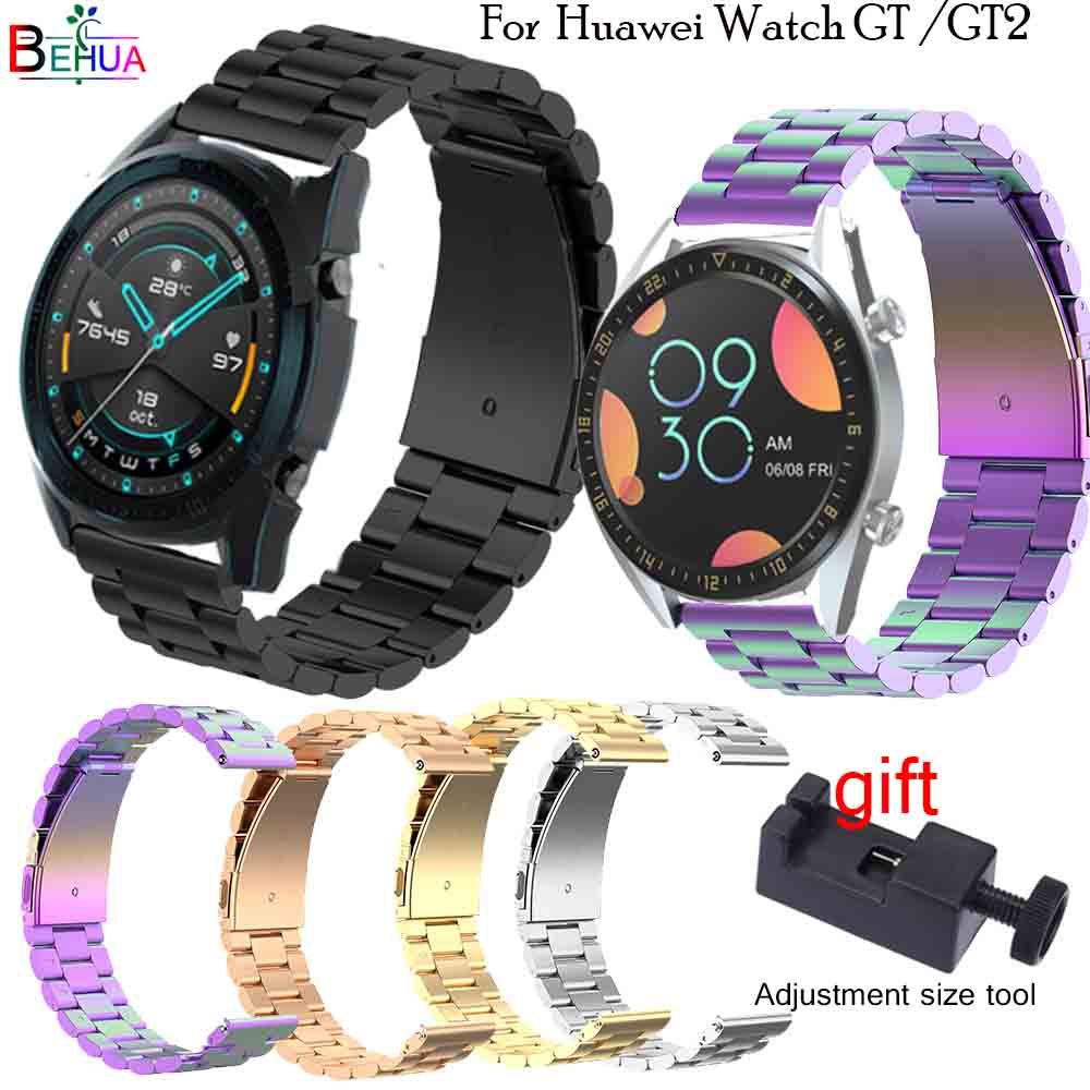 BEHUA Stainless Steel 22mm Watchband Replacement For HUAWEI WATCH GT 2 46mm Quick Release Wristband For HUAWEI WATCH2 Pro Strap