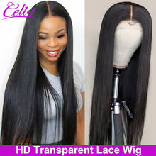 Celie HD Lace Wig Straight Lace Front Wigs 150 180 250 Density Pre Plucked Transparent Lace Wig 13x4 Lace Front Human Hair Wigs(China)
