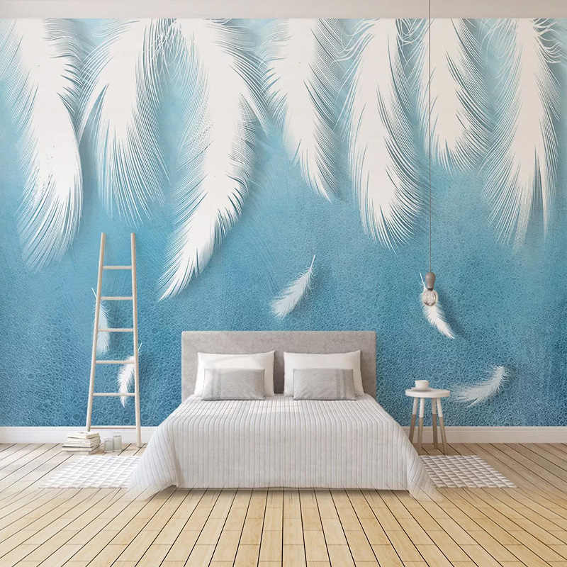 Custom Photo Wallpaper Modern 3d White Feather Background Wall Painting Living Room Tv Sofa Bedroom Art Home Decor 3d Wall Mural Wallpapers Aliexpress