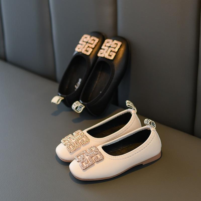 JY Children Girls Pu Bling Rhinestone Shoes Girls Shoes Flat Bean Casual Princess Shoes 26-36 Black &beige TB02
