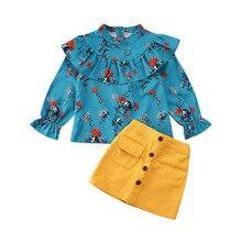 Детские комплекты одежды для маленьких девочек, От 1 до 5 лет футболка с оборками и цветочным принтом, мини-юбка трапециевидной формы, комплекты одежды